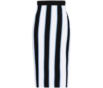 Striped Knitted Pencil Skirt White