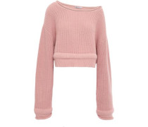 Candy Cropped Ribbed Cotton-blend Sweater Blush