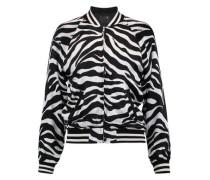 Zebra-print silk bomber jacket