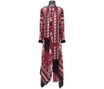Draped Fringe-trimmed Silk-twill Dress Claret
