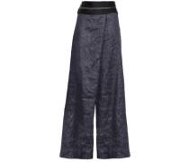 Echo Satin-trimmed Linen-blend Wide-leg Pants Indigo Size 16