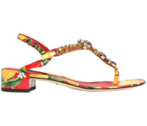 Crystal-embellished Printed Patent-leather Sandals Red