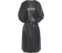 Woman Belted Leather Dress Black