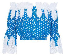 Ari Off-the-shoulder Crochet-trimmed Polka-dot Cotton Top Blue