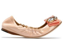 Crystal and bow-embellished patent-leather ballet flats