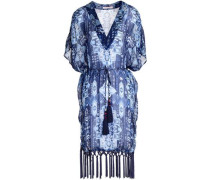 Fringe-trimmed printed silk-chiffon coverup
