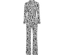 Michele Wrap-effect Printed Silk-jersey Jumpsuit White Size 00