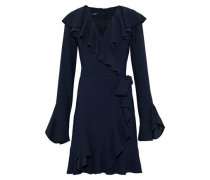 Wrap-effect ruffled crepe mini dress