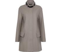 Moryha Leather-trimmed Wool-blend Coat Mushroom