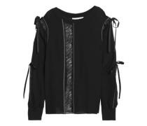 Lace-trimmed cutout silk-crepe blouse
