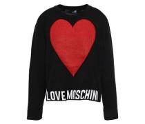 Metallic Intarsia Cotton Sweater Black