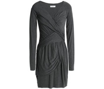 Ruched Mélange Stretch-jersey Mini Dress Anthracite