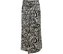 Woman Zebra-print Satin Wrap Midi Skirt Black