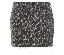 Woman The Vagabond Distressed Leopard-print Denim Mini Skirt Black