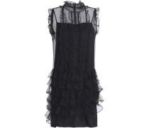 Ruffled pintucked tulle mini dress