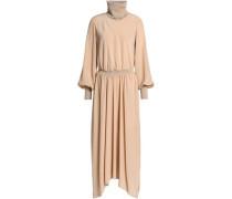 Draped silk crepe de chine turtleneck midi dress