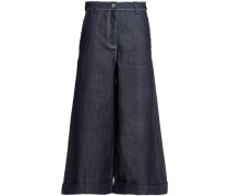 Flared denim culottes