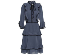 Lace-trimmed Ruffled Georgette Dress Storm Blue