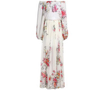 Off-the-shoulder floral-print silk-chiffon gown