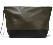 Two-tone Leather Pouch Army Green Size --