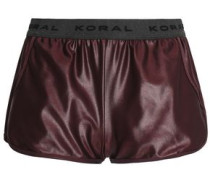 Monogram-trimmed coated stretch shorts
