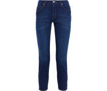 Brendan Cropped Mid-rise Slim-leg Jeans Dark Denim  4