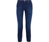 Brendan Cropped Mid-rise Slim-leg Jeans Dark Denim  4