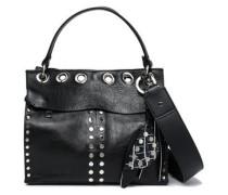 Eyelet-embellished leather shoulder bag