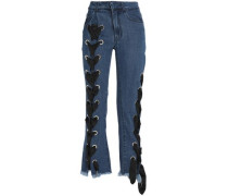 Lace-up frayed mid-rise flared jeans