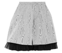 Moulded tulle-trimmed printed taffeta mini skirt