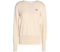 Appliquéd Cotton And Wool-blend Sweater Ecru