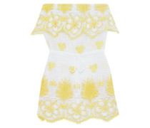Dylan Strapless Crocheted Cotton Coverup Yellow