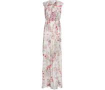 Lace-paneled Floral-print Silk Maxi Dress Ivory