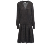 Wrap-effect Knitted Dress Black