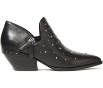 Studded Textured-leather Ankle Boots