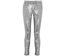 Sequinned stretch-knit skinny pants