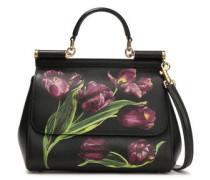 Floral-print Pebbled-leather Shoulder Bag Black Size --