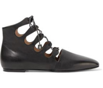 Dimitri Lace-up Leather Ankle Boots Black