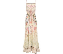 Salvador Summer embellished ruffled printed voile maxi dress