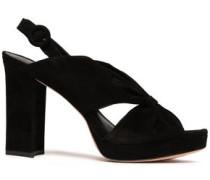 Knotted Suede Platform Sandals Black