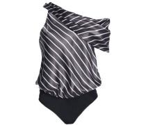 One-shoulder striped silk-satin bodysuit