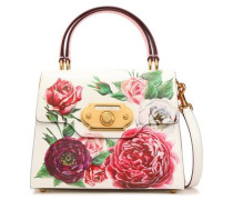 Floral-print Pebbled-leather Shoulder Bag White Size --