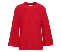 Ingrit Fluted Cotton And Cashmere-blend Sweater Crimson