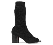 Bouclé-knit sock boots