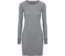 Ribbed mélange cotton and cashmere-blend mini dress