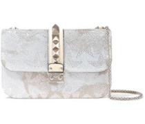 Glam Lock Crystal-embellished Suede And Leather Shoulder Bag Cream Size --