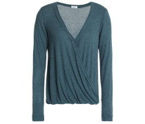 Wrap-effect ribbed jersey top