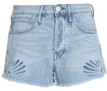 Two-tone cotton denim shorts