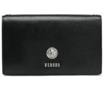 Embellished textured-leather clutch