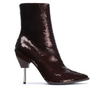 Woman Sequined Suede Ankle Boots Burgundy